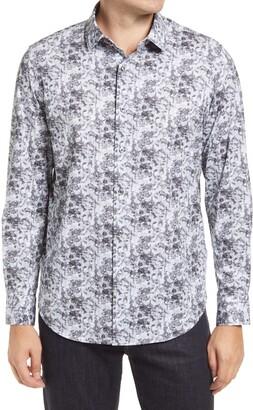 Bugatchi OoohCotton(R) Tech Marbled Knit Button-Up Shirt