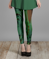 Lily Green & Brown Abstract Leggings - Plus Too