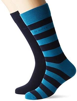 Gant Men's D1.2-Pack Barstripe and Solid Sock (Saxony Blue 407)