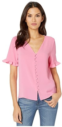 CeCe 3/4 Sleeve Ruffled Button Down Blouse (Pink Begonia) Women's Clothing