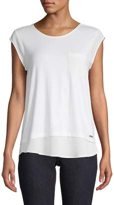 Calvin Klein Tiered-Hem Pocket Tee