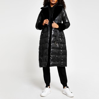 River Island Womens Black belted faux fur cuff padded coat