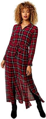 Joe Browns Chiffon Check Dress - Black/Red