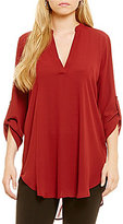 Gibson & Latimer V-Neck 3/4 Sleeve Solid Tunic