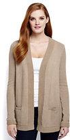 Classic Women's Petite Lofty Textured Open Cardigan Sweater-Soft Camel/White Canvas