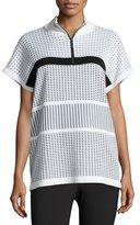 St. John Two-Tone Illusion Grid Dolman-Sleeve Sweater, White/Black