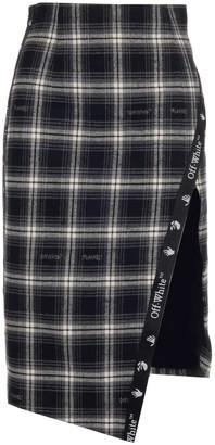 Off-White Logo Checked Slit Skirt
