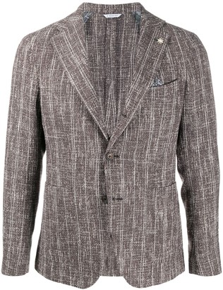 Manuel Ritz Textured Single Breasted Blazer