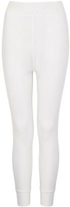 High Halt White Lace-trimmed Leggings