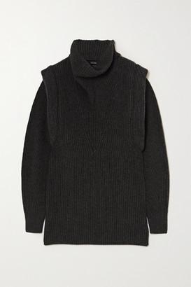 Isabel Marant Prewitt Ribbed Cashmere And Wool-blend Turtleneck Mini Dress - Anthracite