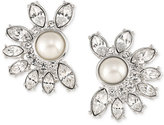 Carolee Silver-Tone Imitation Pearl and Crystal Crescent Stud Earrings