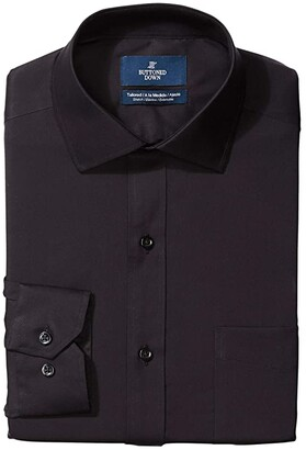 Supima Cotton Easy Care Brand Spread-Collar BUTTONED DOWN Mens Tailored Fit Bib-Front Tuxedo Shirt