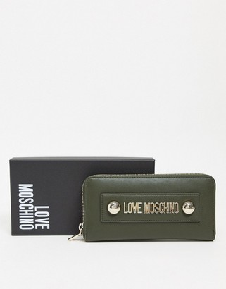 Love Moschino large purse with dome studs in dark green