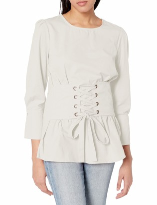 J.o.a. Women's Corset Detail Woven 3/4 Sleeve LACE UP Blouse