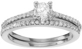 Journee Collection 7/8 CT. T.W. Round-cut Cubic Zirconia Bridal Prong Set Ring Set in Sterling Silver - Silver