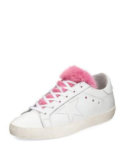 Golden Goose Superstar Fur-Trim Low-Top Sneakers