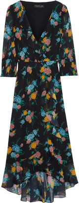 Rachel Zoe Wrap-effect Floral-print Chiffon Midi Dress