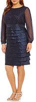 London Times Plus Shimmer Long Sleeve Layered Dress