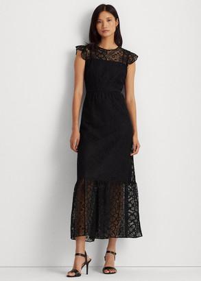 Ralph Lauren Lace Flutter-Sleeve Gown