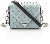Alexander Wang Mini Prisma Envelope Sling In Studded Denim With Chain Strap