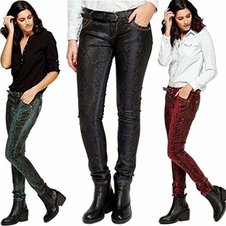 Cassa Firenze 221 Bike Skinny Pants Mock Crock MID Rise Wax Effect Stretchy Belted Jeans Wine/Black (W 30 inches)