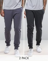 Asos Skinny Joggers In Charcoal Marl/Washed Black 2 Pack Save
