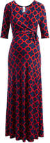 Glam Red & Blue Quatrefoil Maternity Maxi Dress