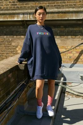 Lazy Oaf Best Fwiends Sweater Dress - Blue ALL at Urban Outfitters
