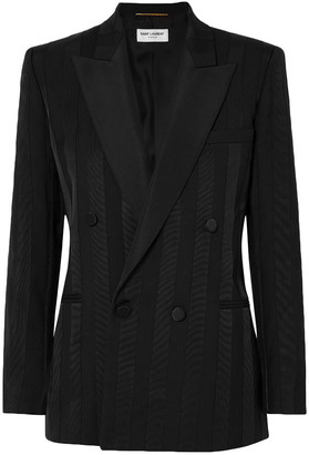 Saint Laurent Double-breasted Grosgrain-trimmed Wool Blazer
