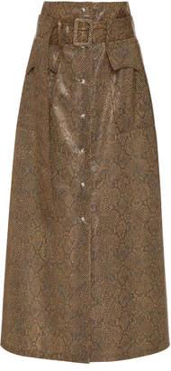 Nanushka Aarohi Belted A-Line Vinyl Midi Skirt