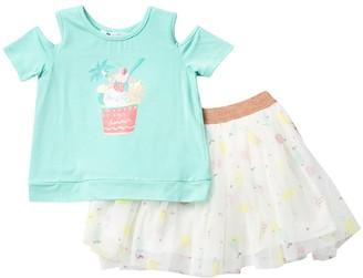 Petit Lem Split Shirt & Mesh Skirt Set (Toddler & Little Girls)