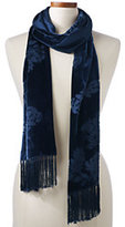 Classic Women's Double Faced Velvet Scarf-Rich Red Snowflake