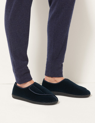 Marks and Spencer Corduroy Riptape Slippers with Freshfeet