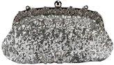 Prettybag Beaded Sequined Design Shining Evening Handbag Silver