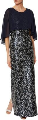 Gina Bacconi Arina Maxi Dress, Navy/Silver