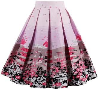 Jolisson Womens Summer Skirts A-Line Vintage Midi Pleated Dress High Waist Bohemia Floral Knee Length Skirt (Pink UK 10-12)