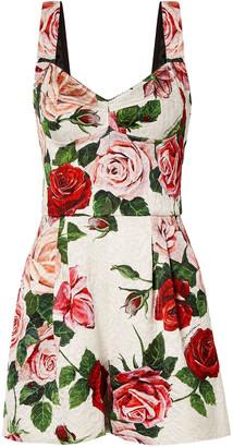 Dolce & Gabbana Floral-print Brocade Playsuit