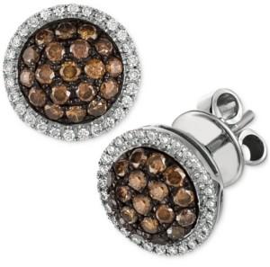 LeVian Le Vian Chocolate Diamond & Vanilla Diamond Ring Halo Cluster Stud Earrings (3/4 ct. t.w.) in 14k White Gold