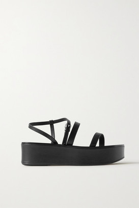 The Row Wedge Leather Platform Sandals - Black