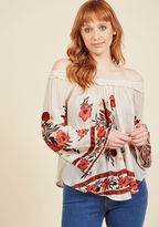 ModCloth Appropriately Poetic Long Sleeve Top in L