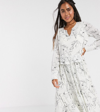 Y.A.S midi smock dress in white with abstract print