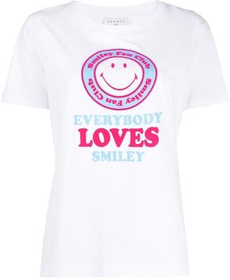Sandro Paris short sleeve Smile print T-shirt