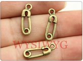 Nobrand No brand 10pcs 19*6mm antique bronze plated Paperclip charms