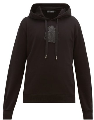 Dolce & Gabbana Logo-plaque Loopback-cotton Hooded Sweatshirt - Black