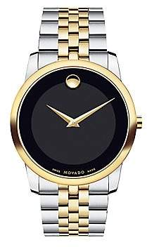 Movado Men's Museum Black Dial Two-Tone PVD Stainless Steel Bracelet Watch