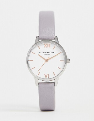 Olivia Burton OB16MDW26 leather midi watch in gray lilac