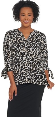 Joan Rivers Classics Collection Joan Rivers Pullover Silky Blouse with Tie Sleeves