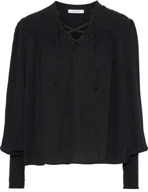 Frame Lace-up Pintucked Crepe Blouse