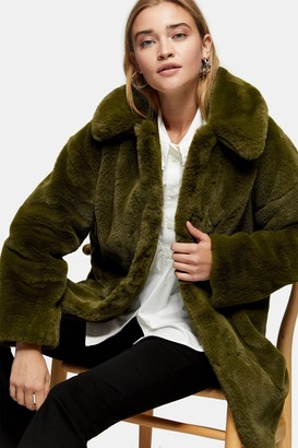 Topshop Womens Khaki Velvet Faux Fur Jacket - Khaki