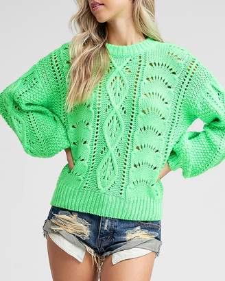 Express Emory Park Neon Green Cable Knit Sweater